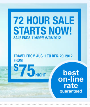 72 Hour Sale Starts Now! Sale ends 11:59PM 6/25/2012